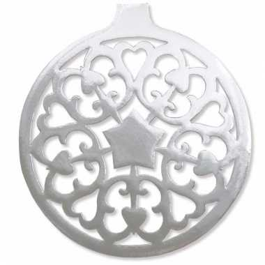 Zilveren kerstbal hangdecoratie 32 cm