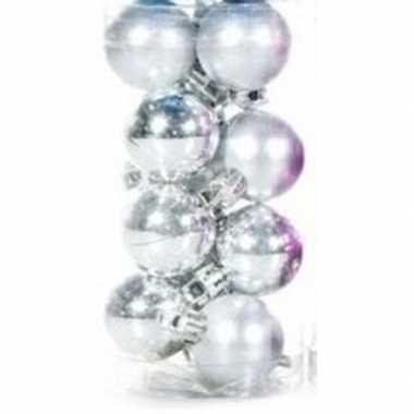 Zilveren kerstballen 12 stuks 3 cm