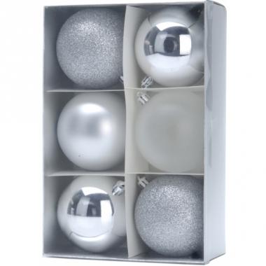 Zilveren kerstballen 6 stuks