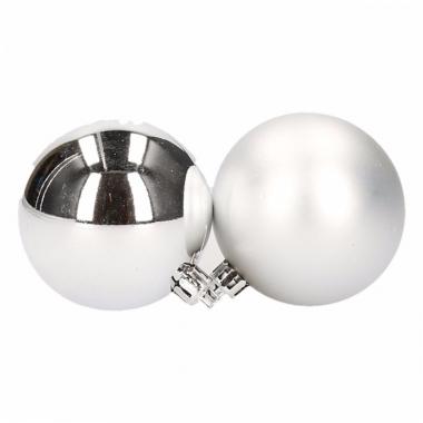 Zilveren kerstballen setjes 6 cm 12 stuks