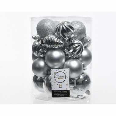 Zilveren kerstboomballen set 34 stuks