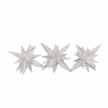 Zilveren kerstster 3d 7,5 cm