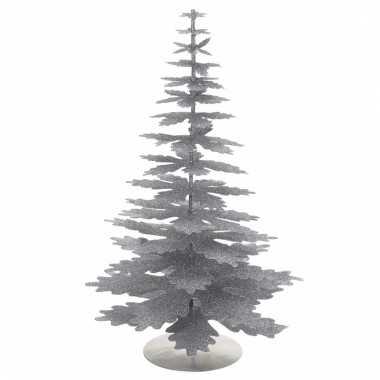 Zilveren kleine glitter kerstboom 35 cm