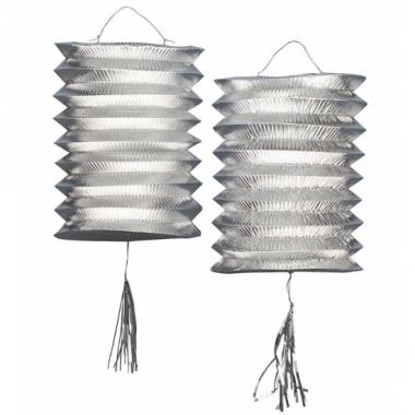 Zilveren lampionnen 2 stuks