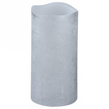 Zilveren led stompkaars 8 x 15 cm
