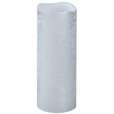 Zilveren led stompkaars 8 x 20 cm