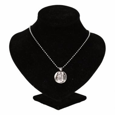 Zilveren metalen ketting met boeddha chunk