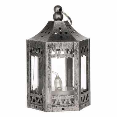 Zilveren metalen lantaarn met led theelichtje 10 cm