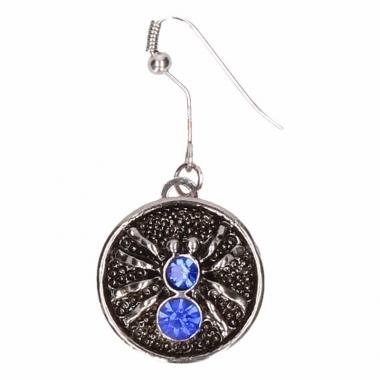 Zilveren metalen oorbellen met blauwe spin chunk