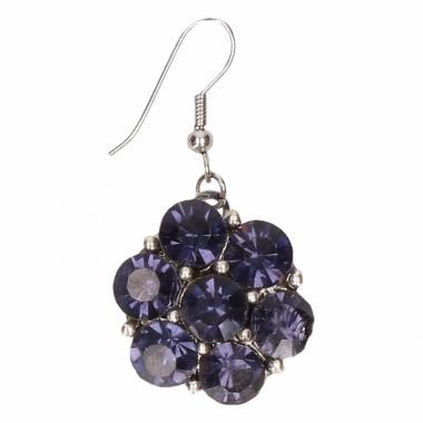 Zilveren metalen oorbellen met blauwe steentjes chunk