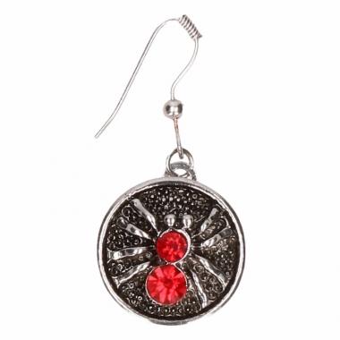 Zilveren metalen oorbellen met rode spin chunk