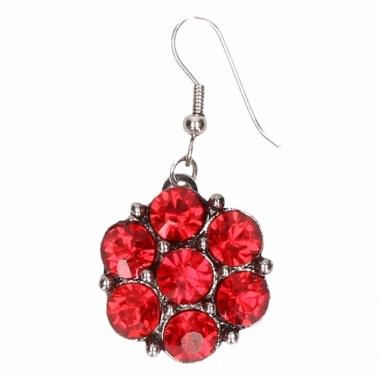 Zilveren metalen oorbellen met rode steentjes chunk
