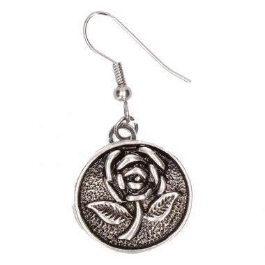 Zilveren metalen oorbellen met roos chunk
