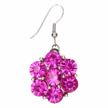 Zilveren metalen oorbellen met roze steentjes chunk