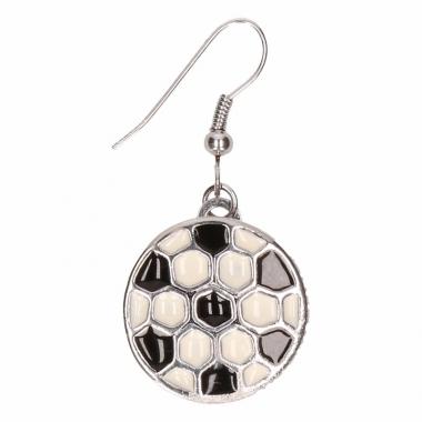 Zilveren metalen oorbellen met voetbal chunk