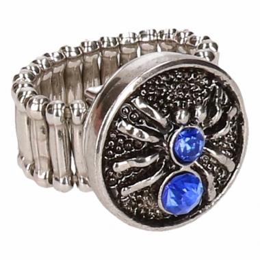 Zilveren metalen ring met blauwe spin
