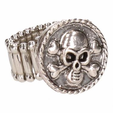 Zilveren metalen ring met doodshoofd chunk