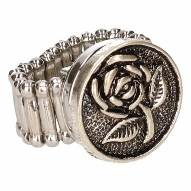 Zilveren metalen ring met roos chunk