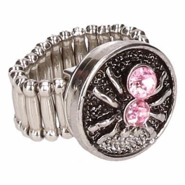 Zilveren metalen ring met roze spinnetje