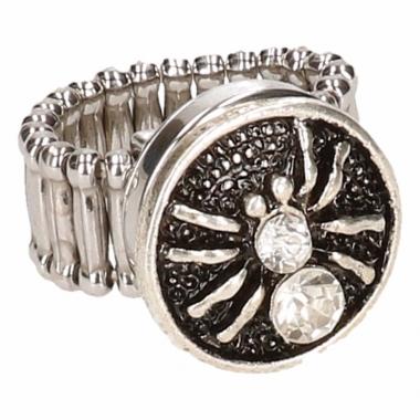 Zilveren metalen ring met zilver spin