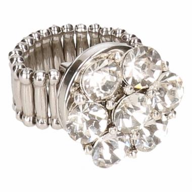 Zilveren metalen ring met zilveren steentjes