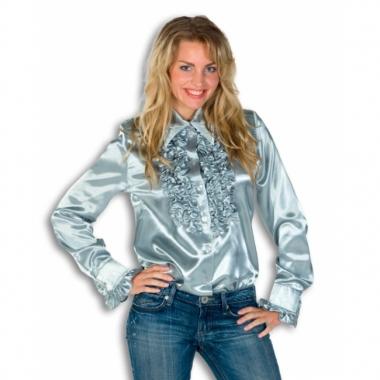 Zilveren overhemd met rouches