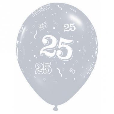 Zilveren qualatex ballonnen 25 jaar