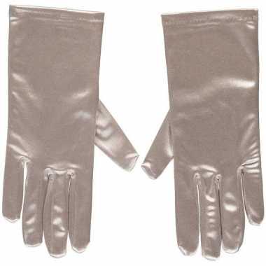 Zilveren satijnen verkleed handschoenen 20 cm