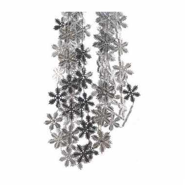 Zilveren sneeuwvlokjes slinger 270 cm