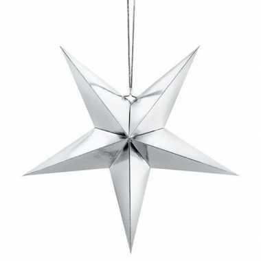 Zilveren sterren kerstdecoratie 30 cm
