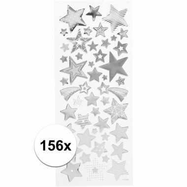 Zilveren sterren stickers 156 stuks