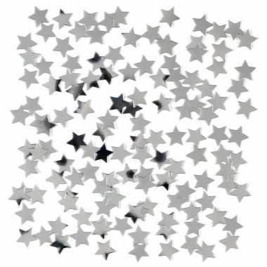 Zilveren sterretjes confetti versiering 15 gram
