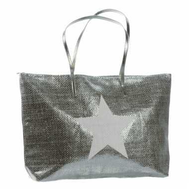 Zilveren tas met ster 50 x 30 cm