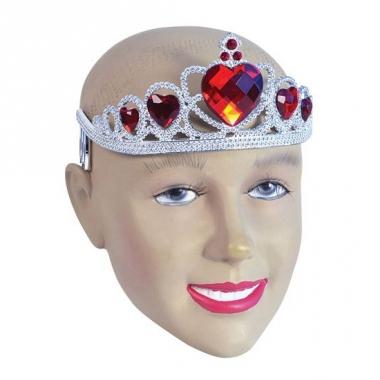 Zilveren tiara met rode steentjes