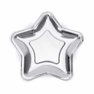 Zilveren wegwerp borden ster 6x
