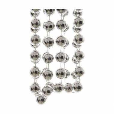 Zilverkleurige kralen slinger 270 cm
