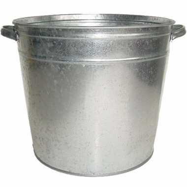 Zinken drankkoeler/ijsemmer 33 x 38 cm