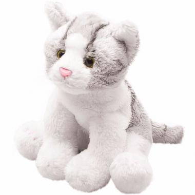 Zittende grijze katten/poezen knuffel 12 cm