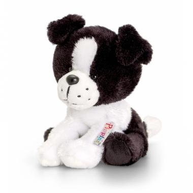 Zittende pluche honden border collie knuffel 14cm