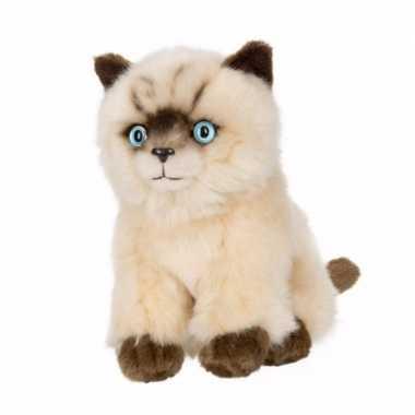 Zittende siamese kattenknuffel 16 cm