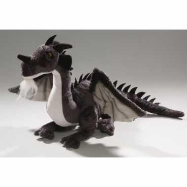 Zittende zwarte draak knuffel 30 cm