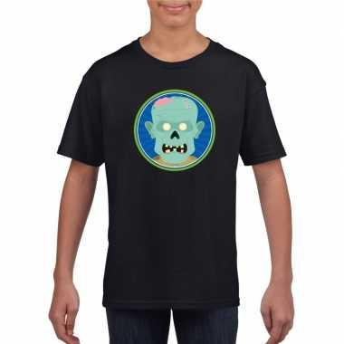 Zombie halloween t-shirt zwart voor jongens en meisjes