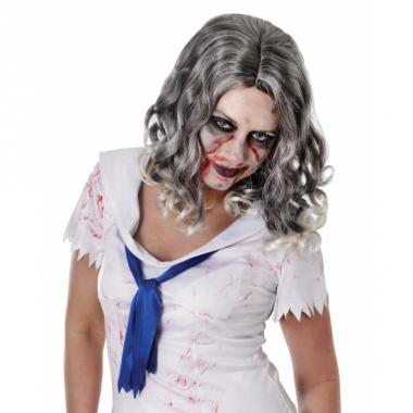 Zombie pruik met krullende grijze haren