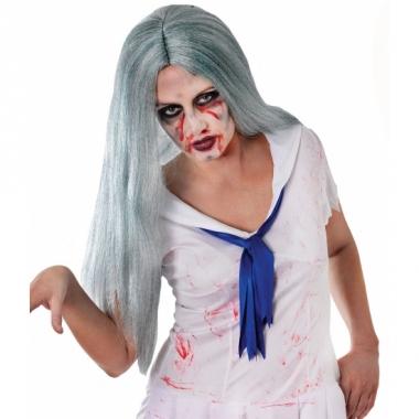 Zombie pruik met lange grijze haren