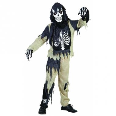 Zombie skelet kinder kostuum