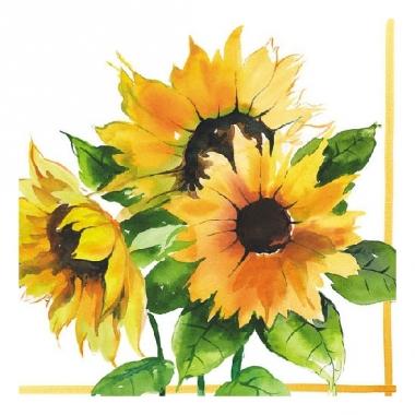 Zonnebloemen servetjes 20 stuks