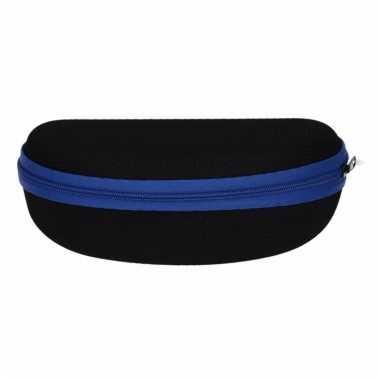 Zonnebrillen etui zwart met blauw