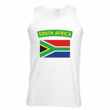 Zuid afrika vlag mouwloos shirt wit heren
