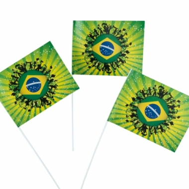 Zwaaivlag brazilie 50 stuks