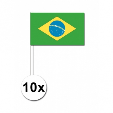 Zwaaivlaggetjes brazilie 10 stuks